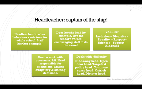 headteacher captain of school ship